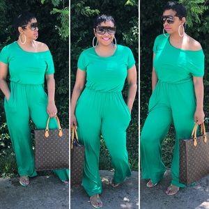 Pants - Green maxi jumpsuit
